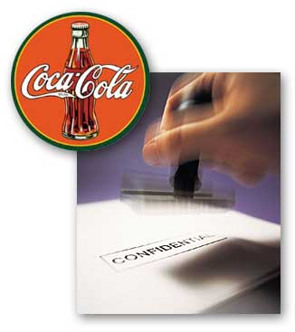 "Papers being stamped with the word ""confidential"" and the Coca-Cola logo."